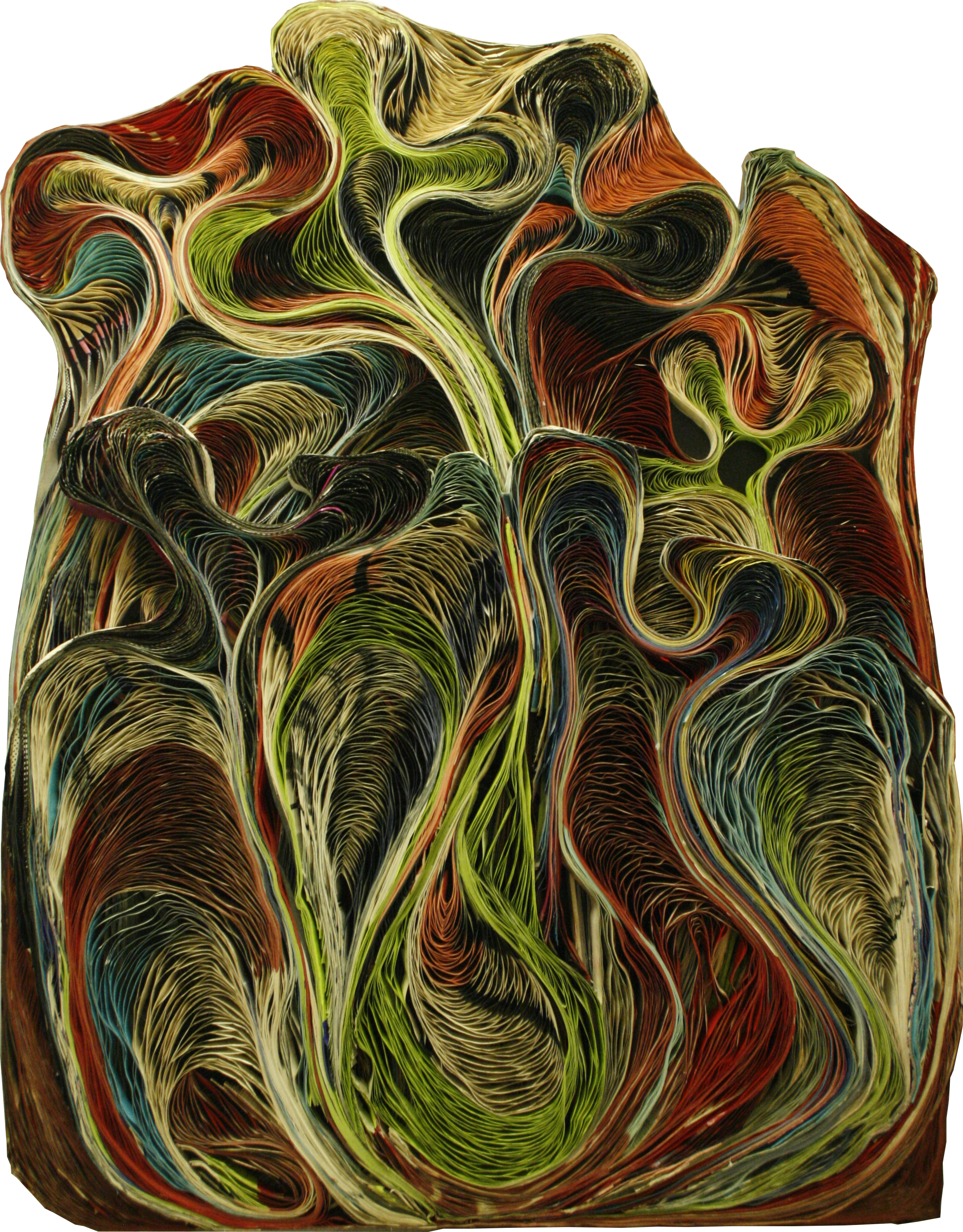 BAROQUE I - Pavlos Dionyssopoulos (1966) - Lés de papier massicotés montés sur un fond en bois. Encadrement sous Plexiglas®.