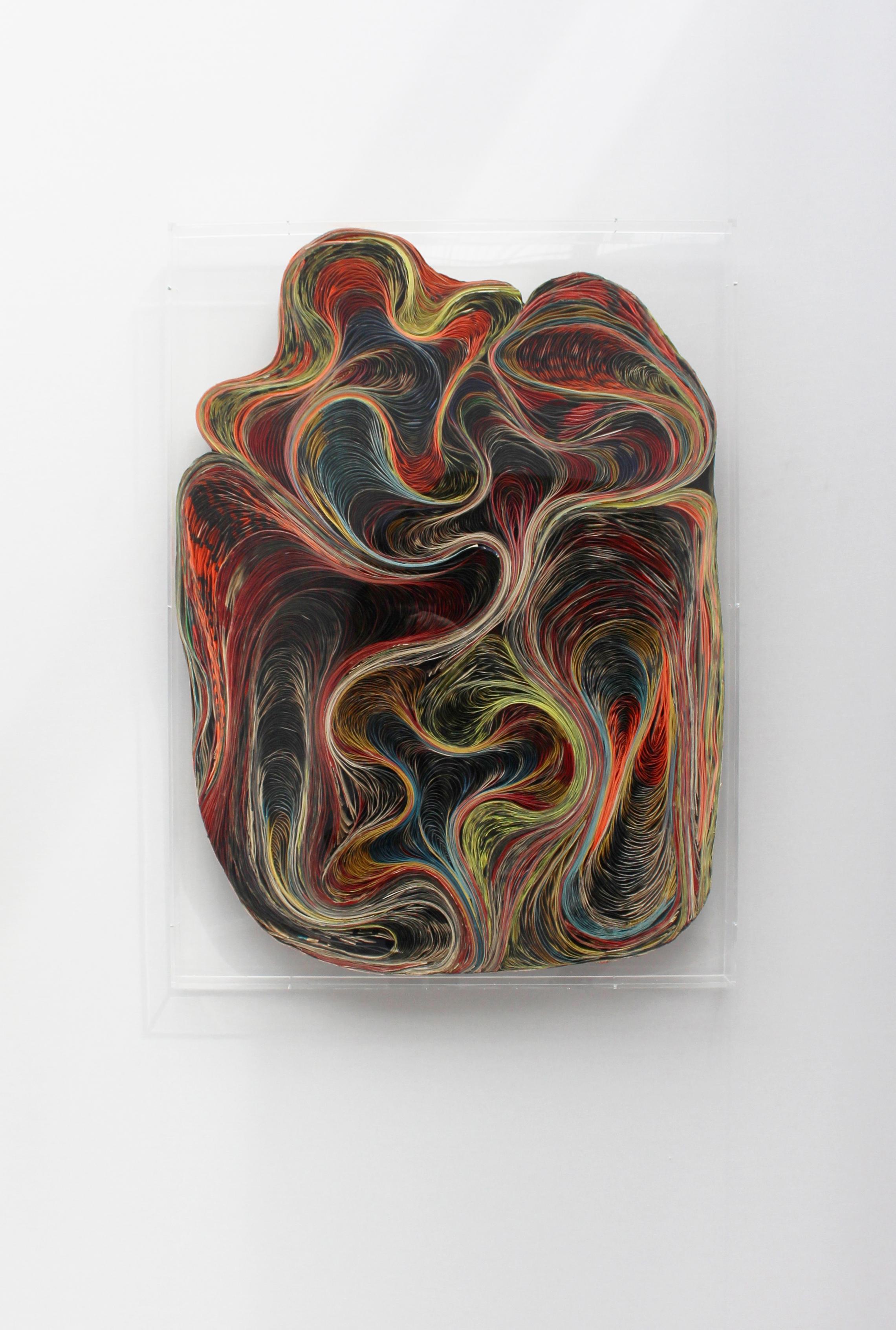 BAROQUE V - Pavlos Dionyssopoulos (1966) - Lés de papier massicotés collés sur un fond en bois. Encadrement sous Plexiglas. ©Galerie Sobering Photographie (Cécile Gremillet).