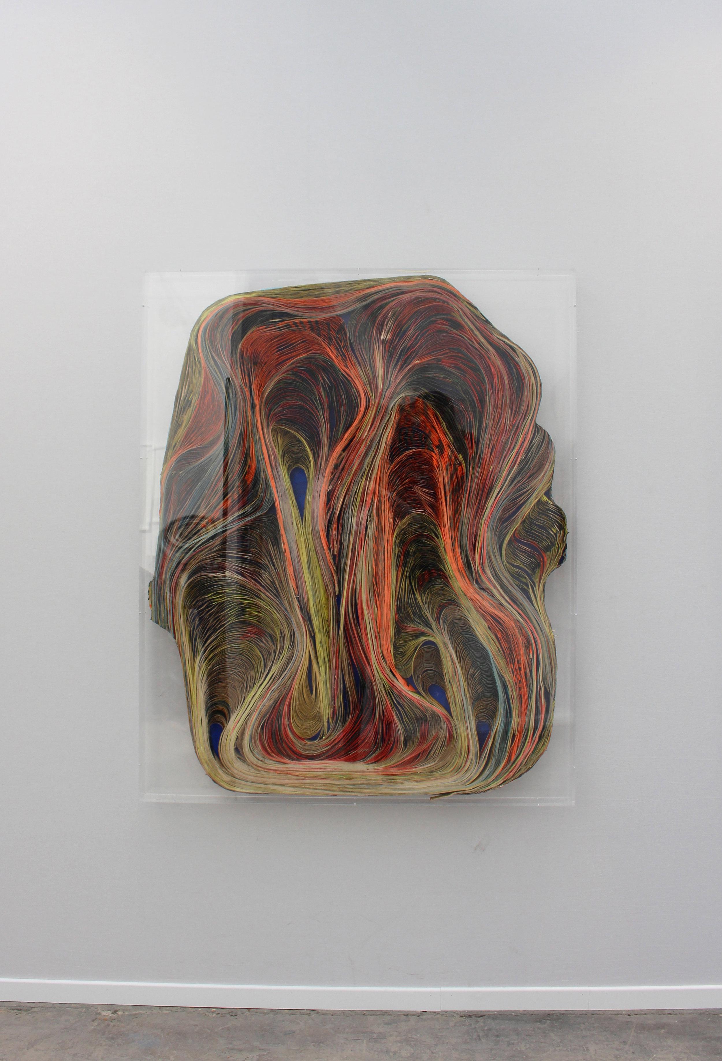 BAROQUE VII - Pavlos Dionyssopoulos (1966) - Lés de papier massicotés collés sur un fond en bois. Encadrement sous Plexiglas. ©Galerie Sobering Photographie (Cécile Gremillet).