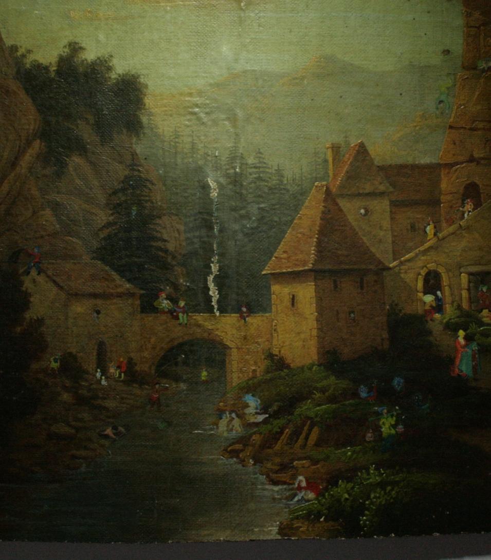 PAYSAGE BURLESQUE - Anonyme (XIXe) - Peinture à l'huile marouflée sur panneau de bois