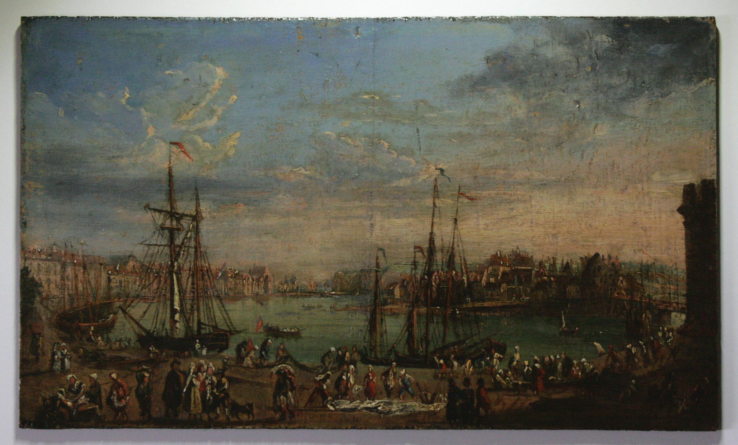 Copie d'un tableau de Joseph Vernet (Port de Dieppe - 1765) - Emile Godchaux (XIXe)