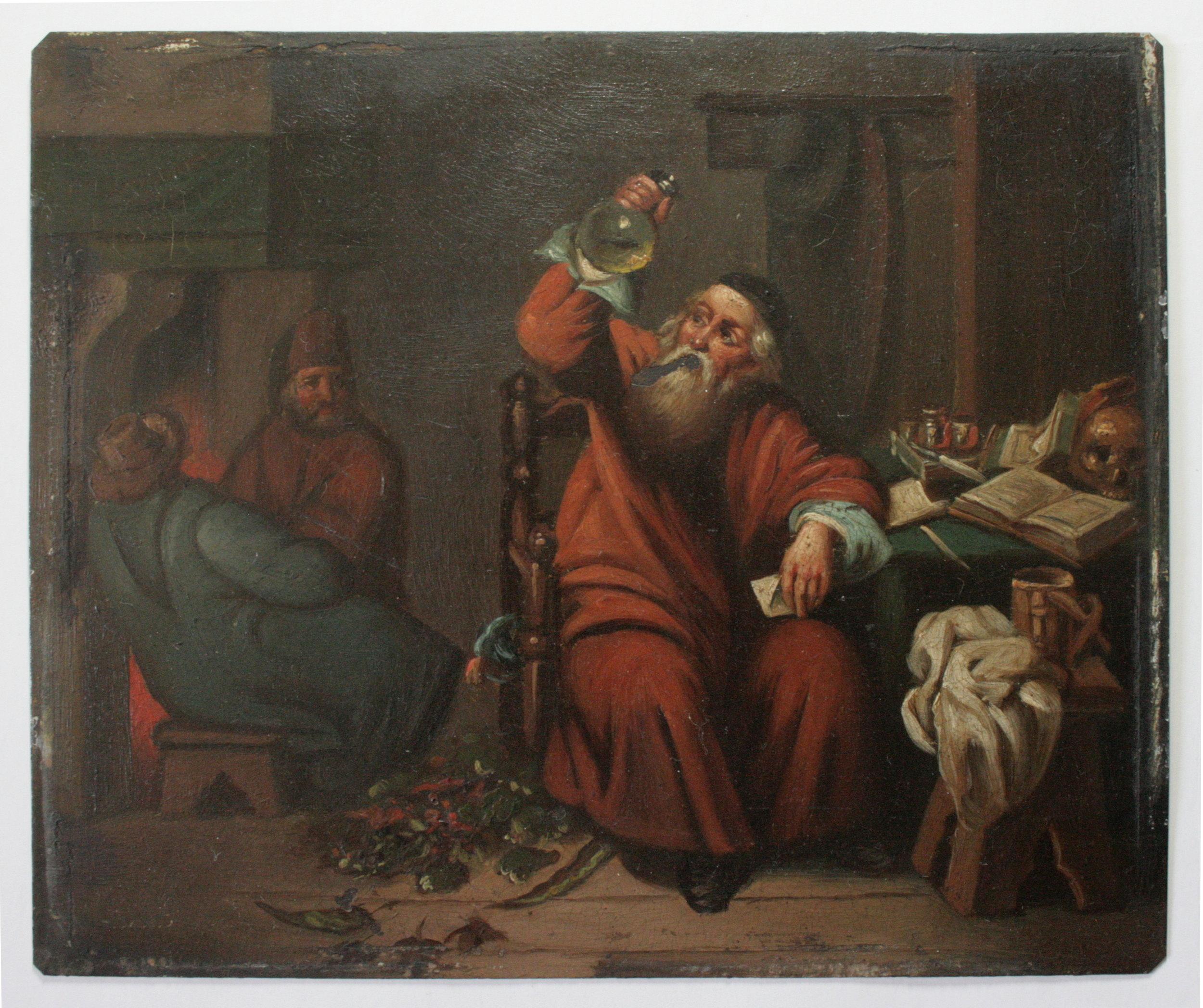 A PHYSICIAN EXAMING AN URINE FLASK (d'après une peinture originale de Caspar Netscher)- Anonyme (XVIIe) - Peinture à l'huile sur cuivre