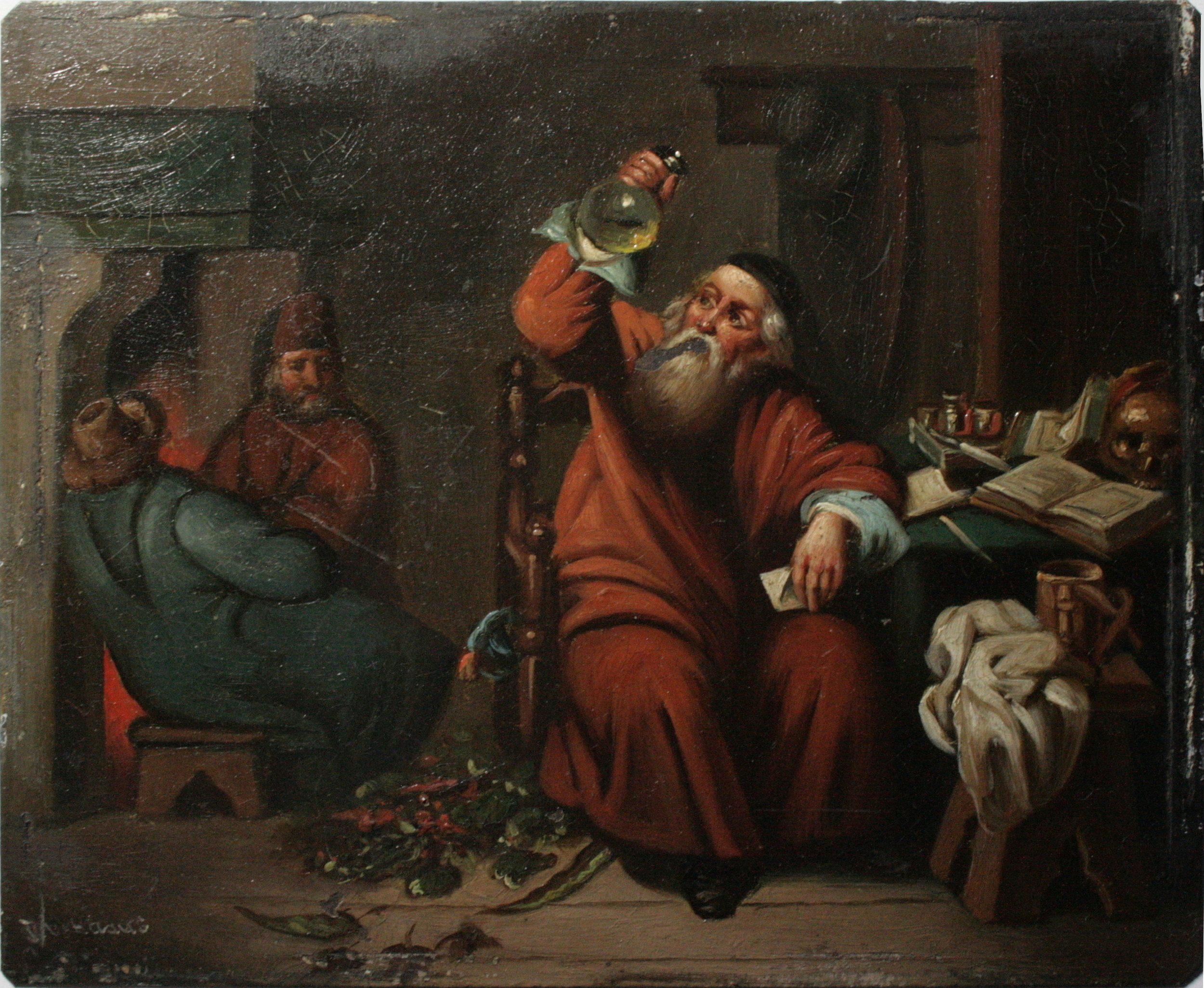 A physician examing an urine flask - Anonyme (XVIIe)