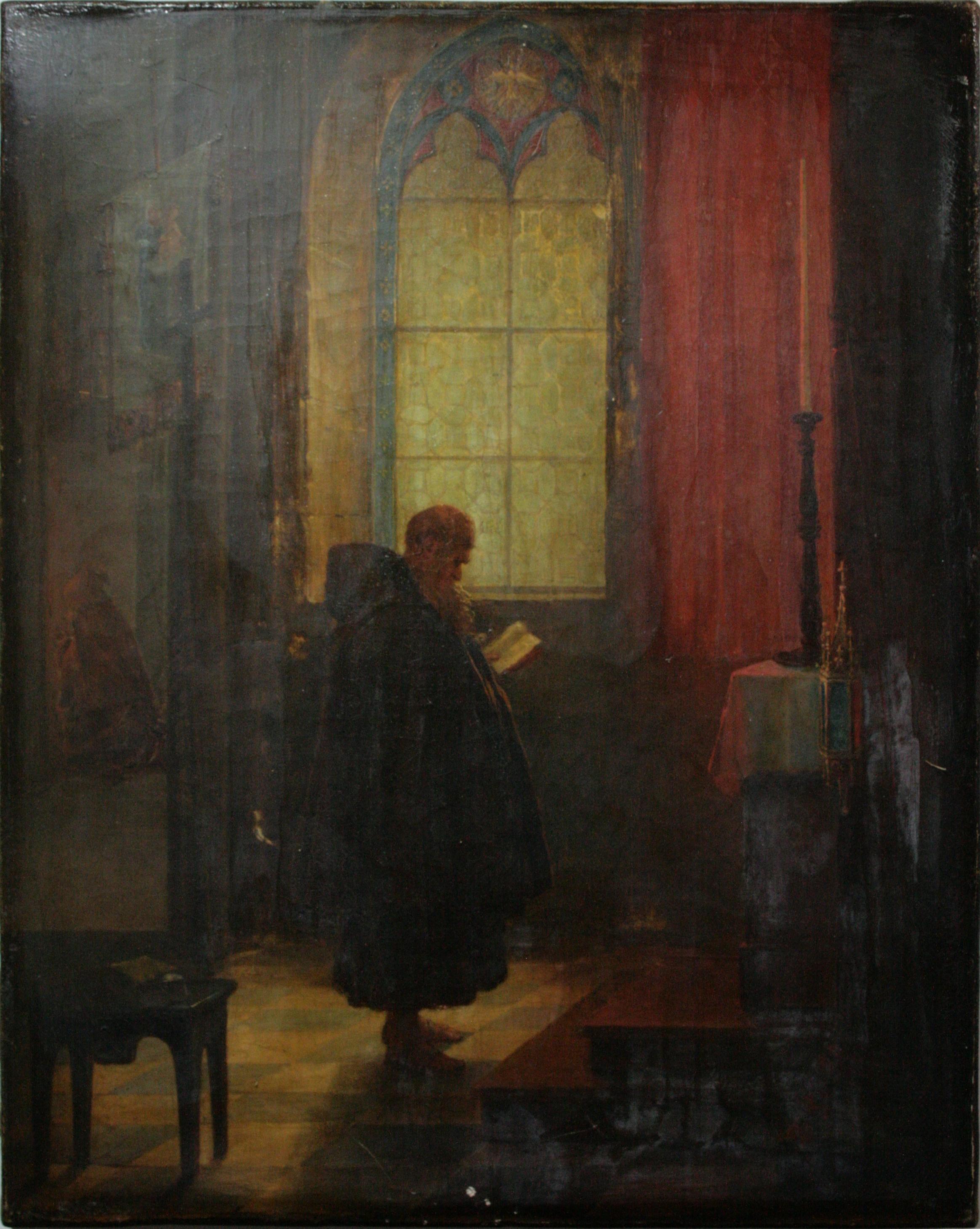 LE MOINE - Jean-Baptiste Goyet (première moitié du XIXe siècle) - Peinture à l'huile sur toile