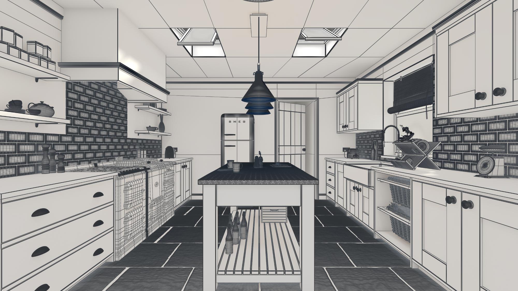 Fractal CG , CGI Visualisation, 3D Render, Interior, Architecture, Farm House Kitchen