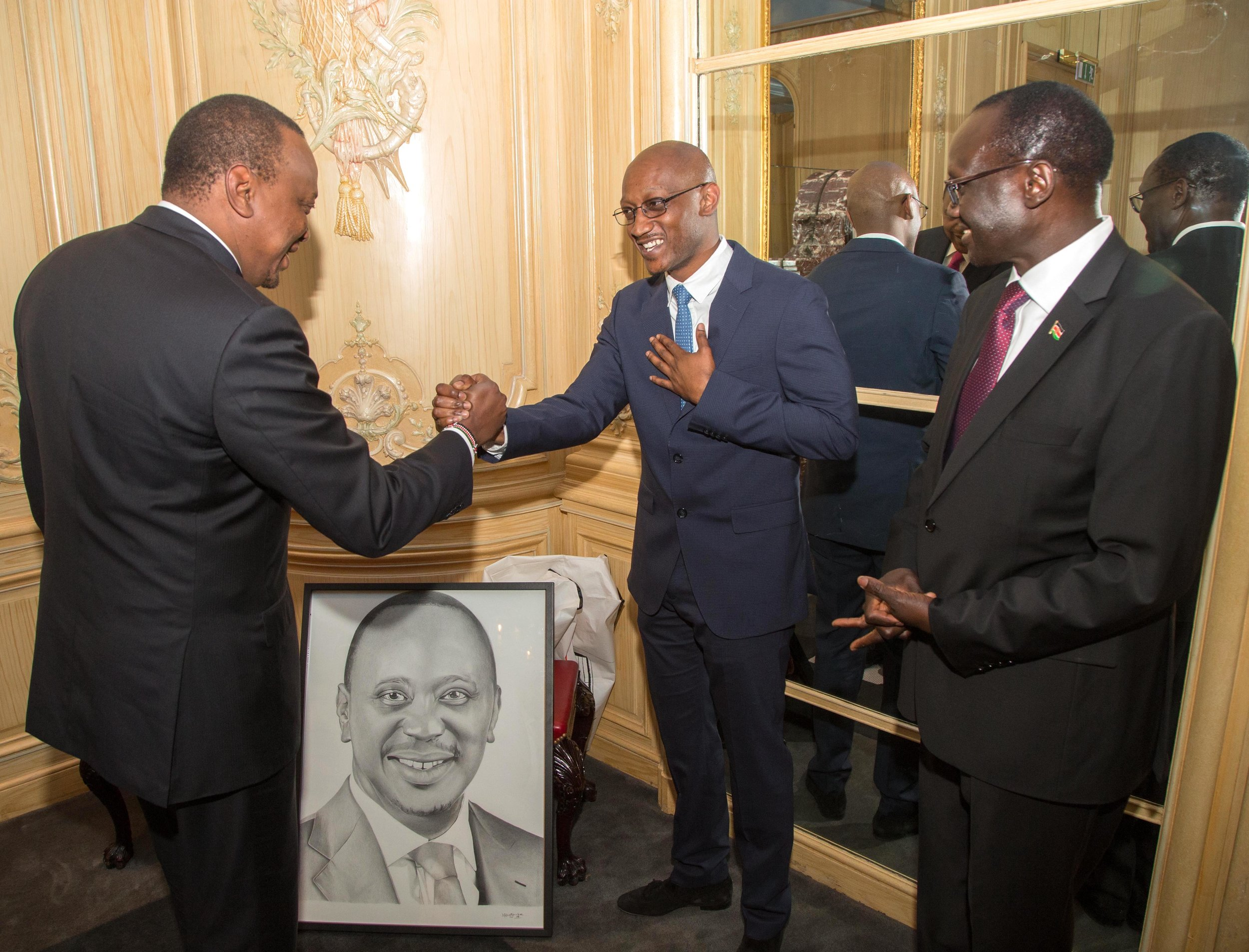 Uhuru Kenyatta, Nkosi Blake Art, and High Commissioner Mr Lazarus O. Amayo