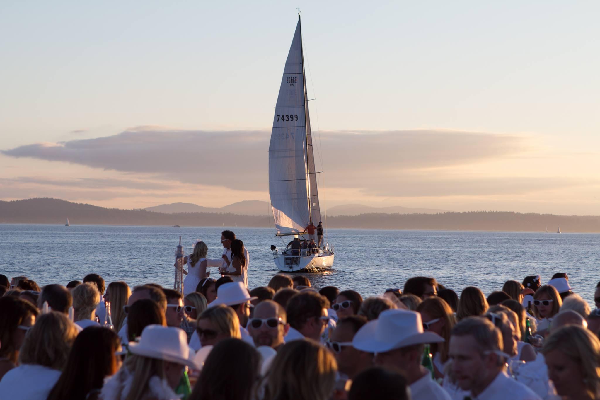 Diner en Blanc sailboat by Aaron Clay