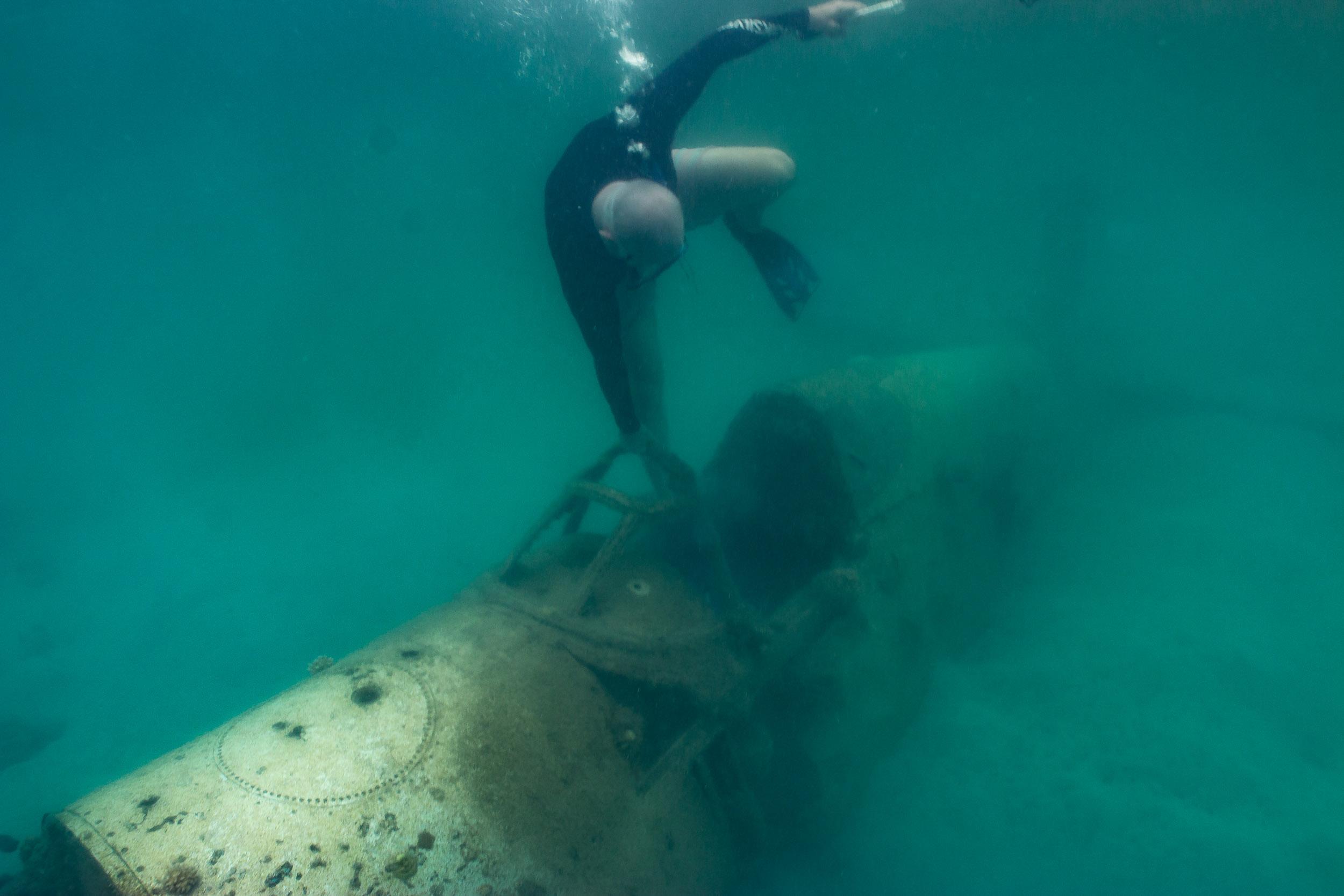 Snorkel on a World War 2 Plane Wreck, Efate, Vanuatu (Enter the cockpit).jpg
