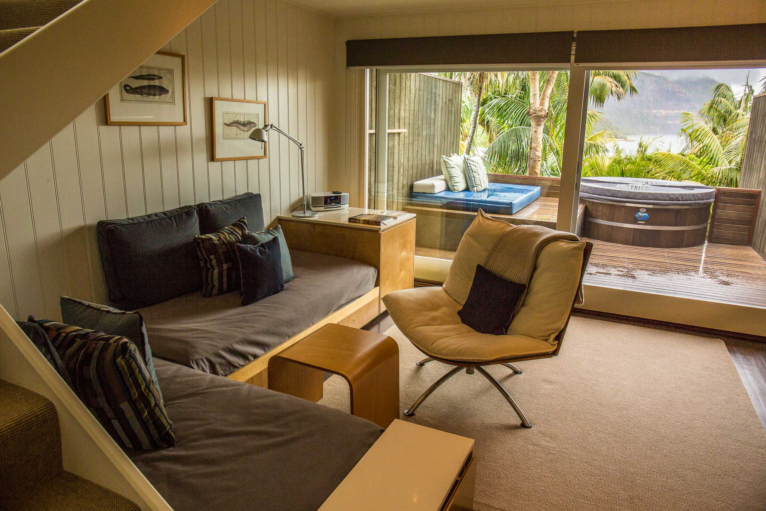 Capella Lodge, Lagoon Loft Living Room with View, Lord Howe Island