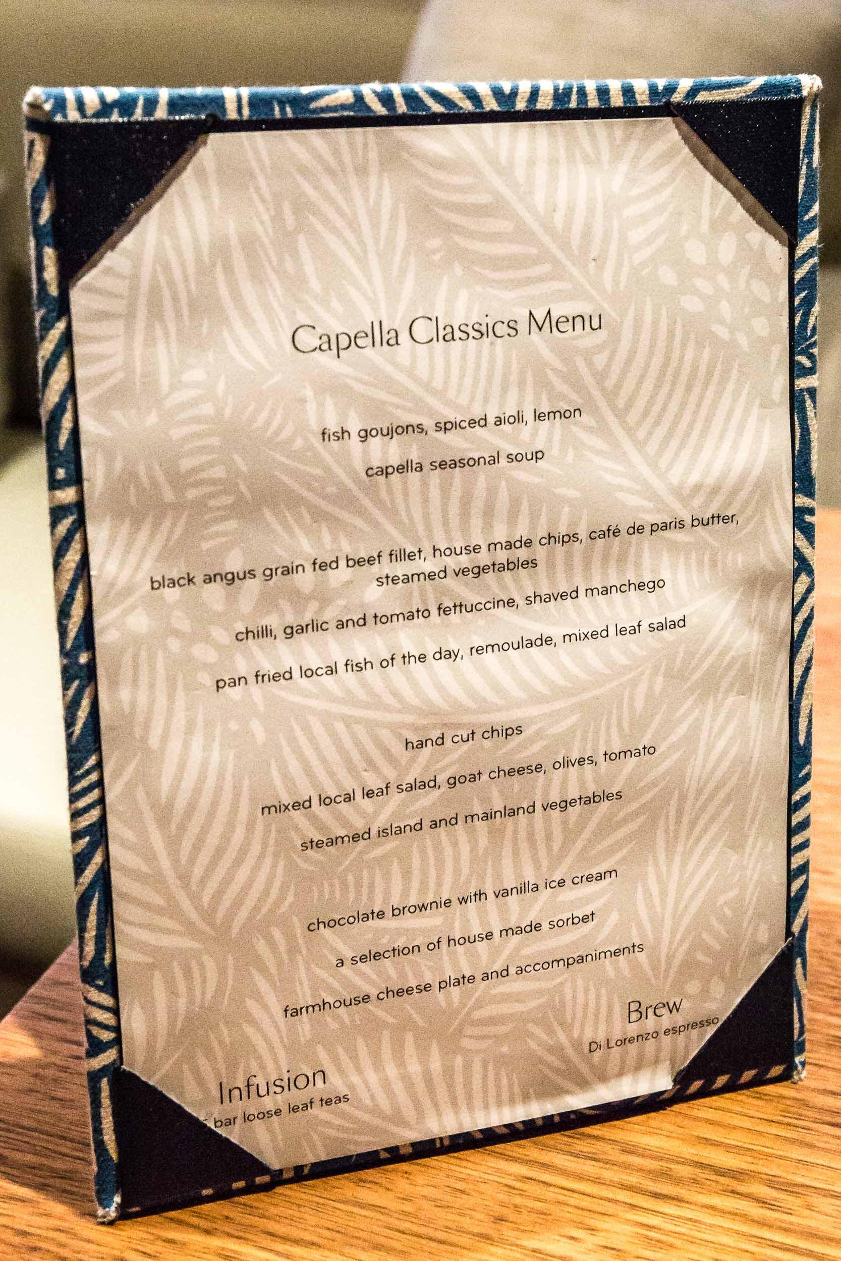 The recurring Capella Lodge Classics Menu