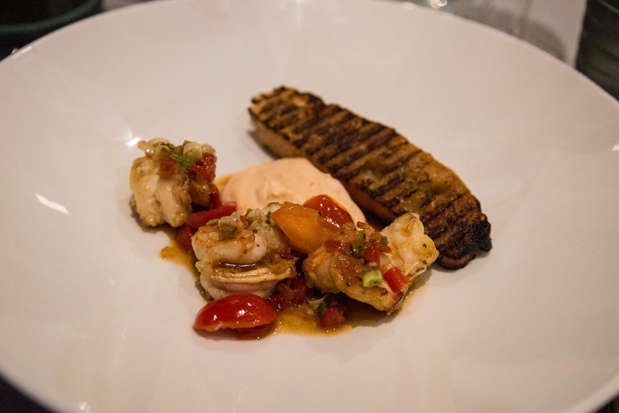 Garlic Yamba Prawns, capsicum, tomato, herbs, charred ciabatta, Capella Lodge Restaurant, Lord Howe Island