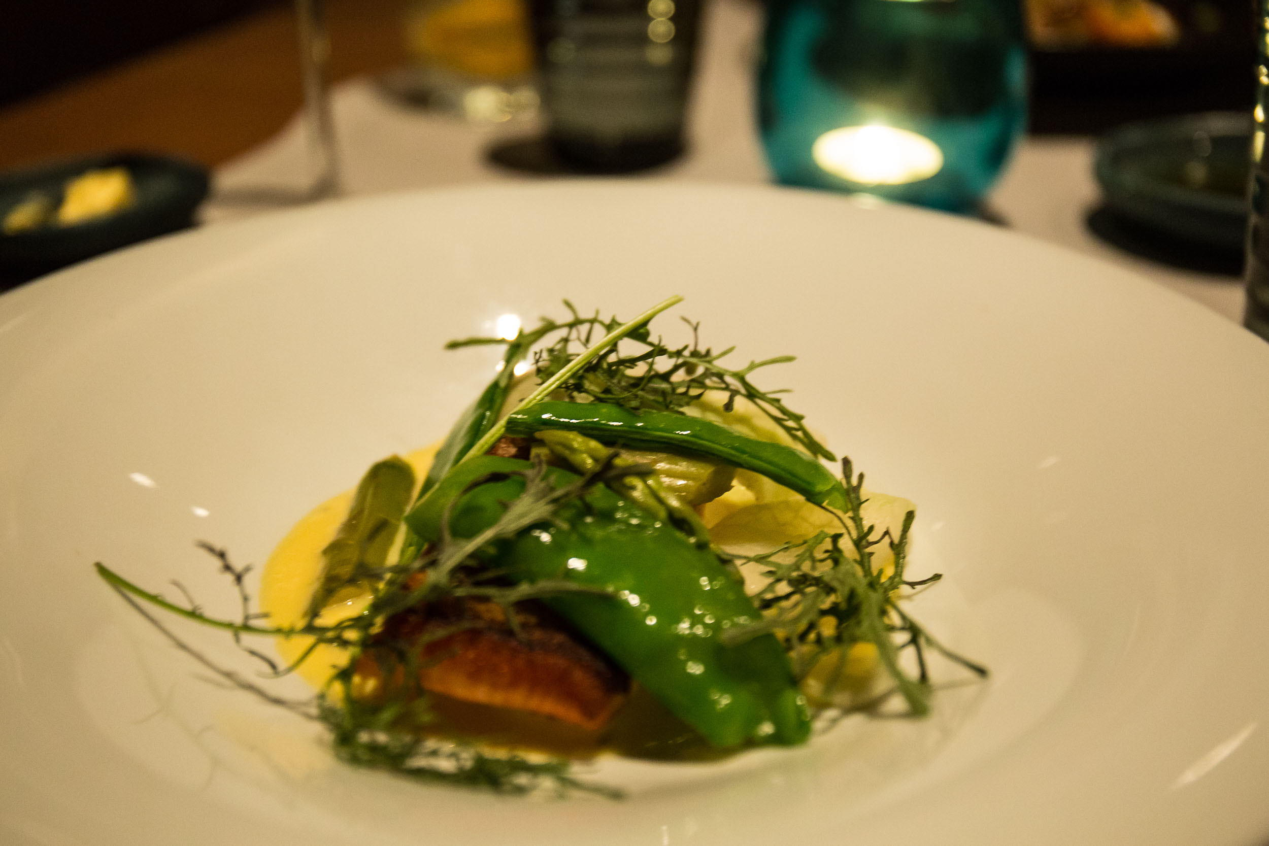 Ocean Trout, charred vegetables, white wine and lemon butter sauce, Capella Lodge Restaurant, Lord Howe Island