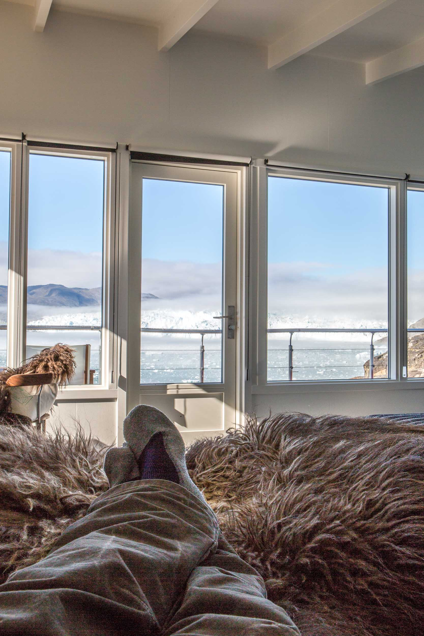Luxury Travel in Greenland, View from the Comfort Hut bed, Hotel Eqi (1 of 1).jpg