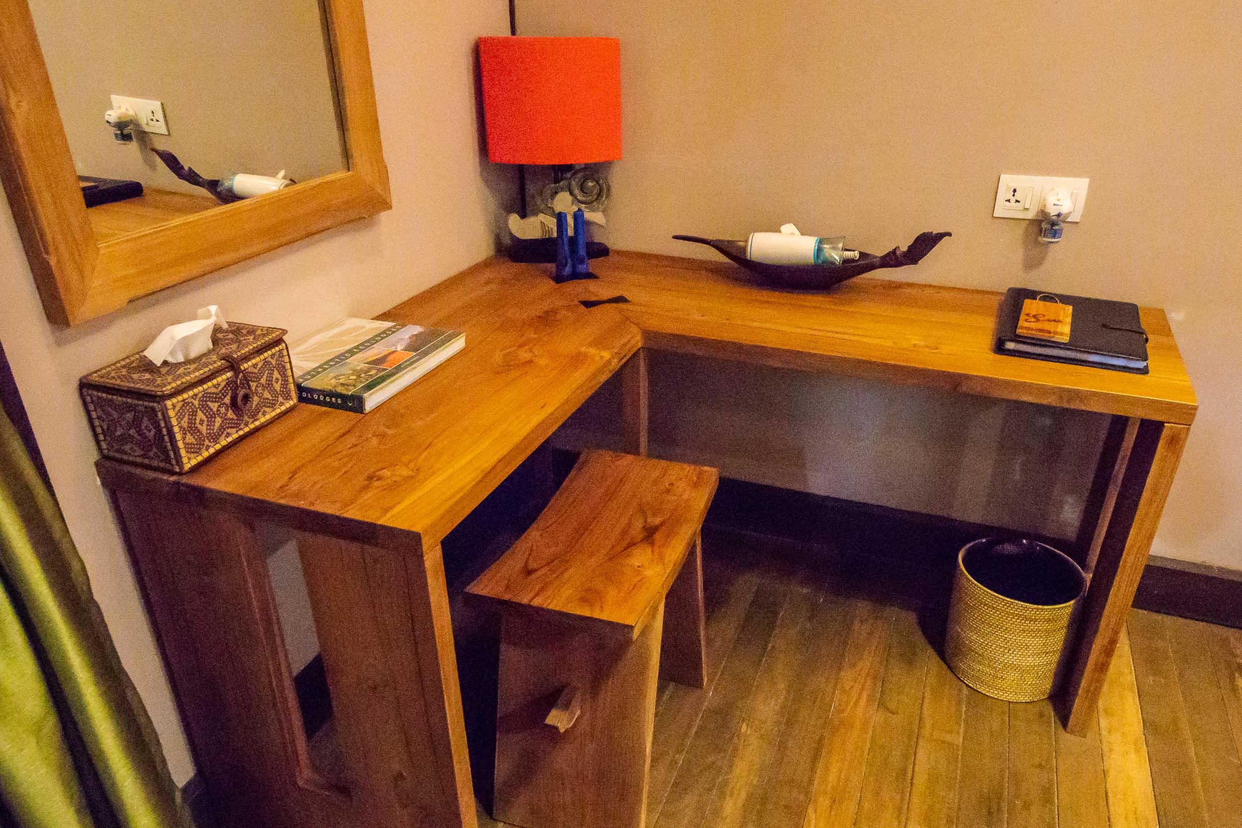 Writing desk, Villa Room, Sukau Rainforest Lodge, Sabah, Borneo, Malaysia