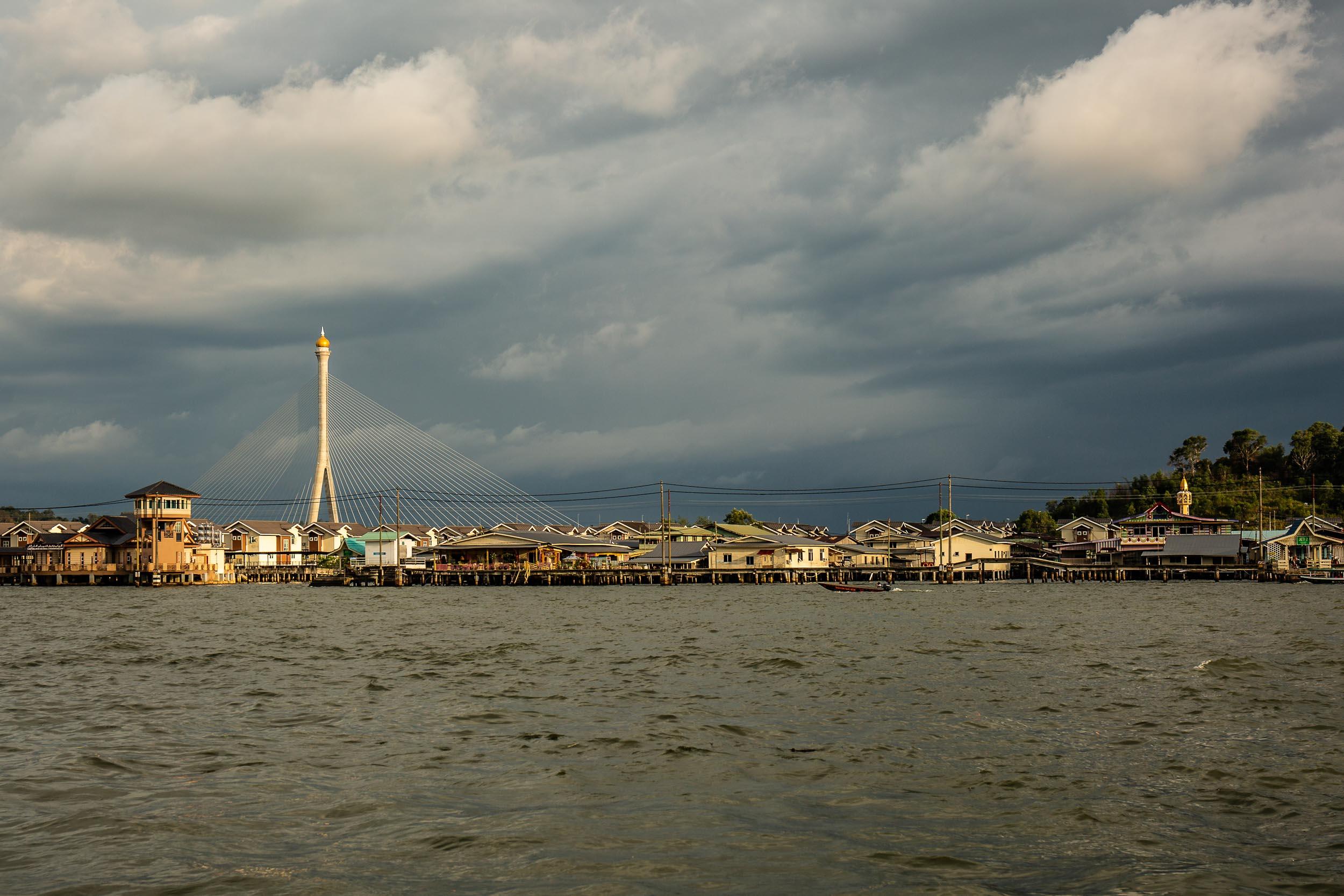 Kampong Ayer (Water Village) juxtaposed against the ultra-modern  Sungai Kebun Bridge , Bandar Seri Begawan