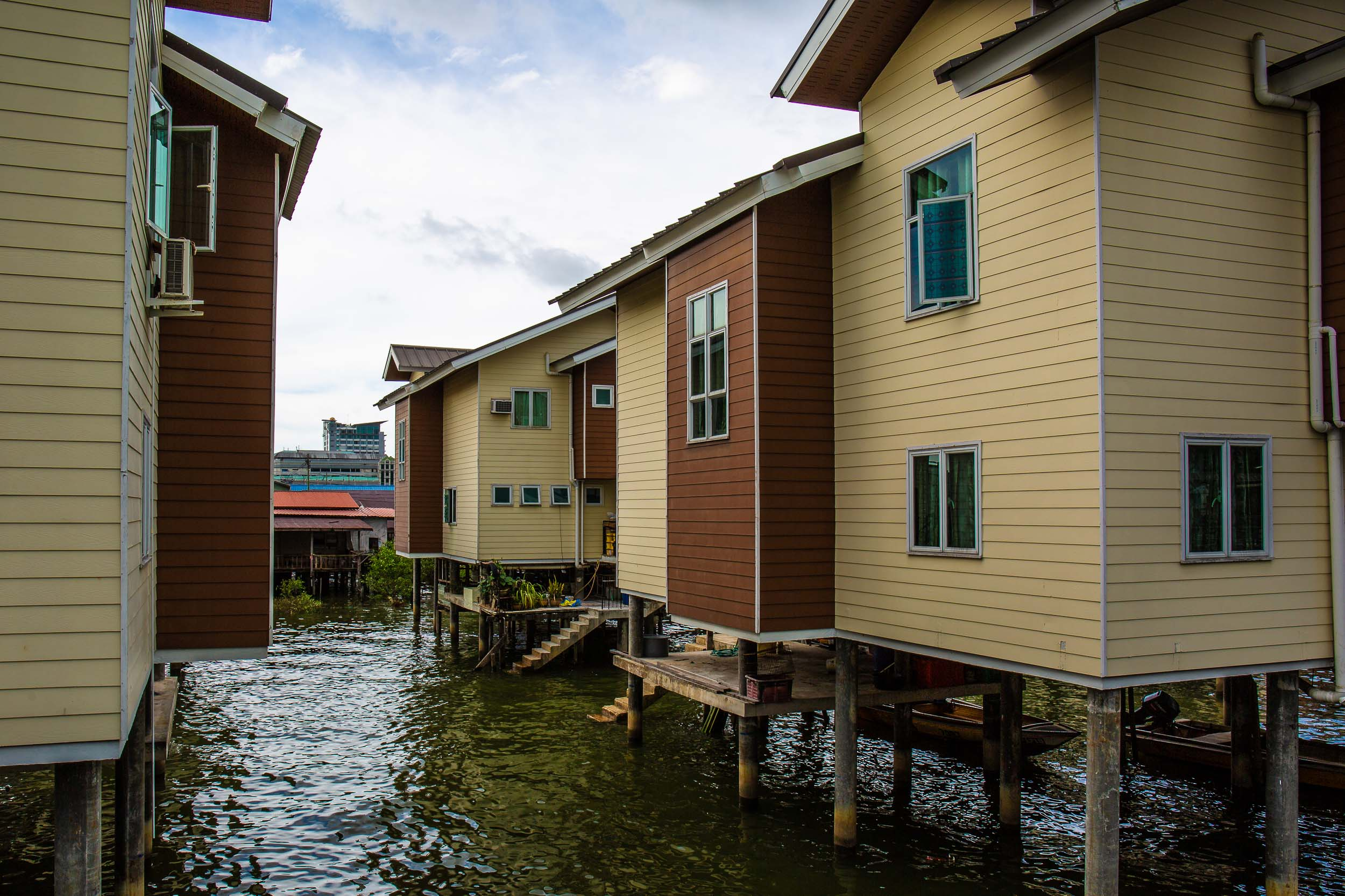 The surprising 'new' townhouses, Kampong Ayer, Bandar Seri Begawan, Bunei