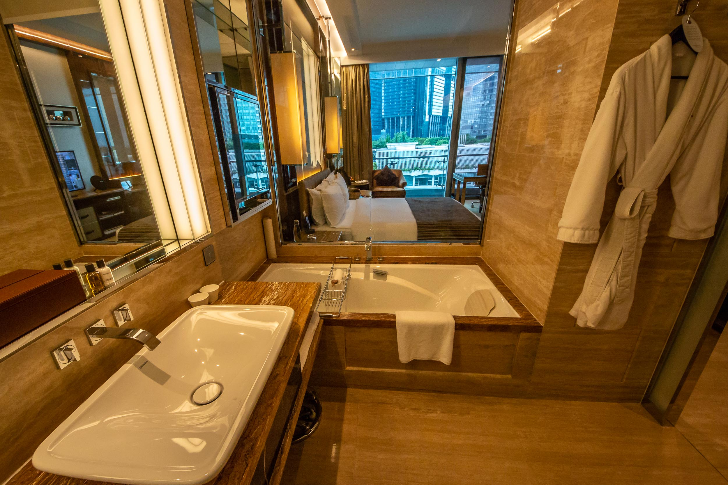 Bathroom with a view, Fullerton Bay Hotel, Singapore