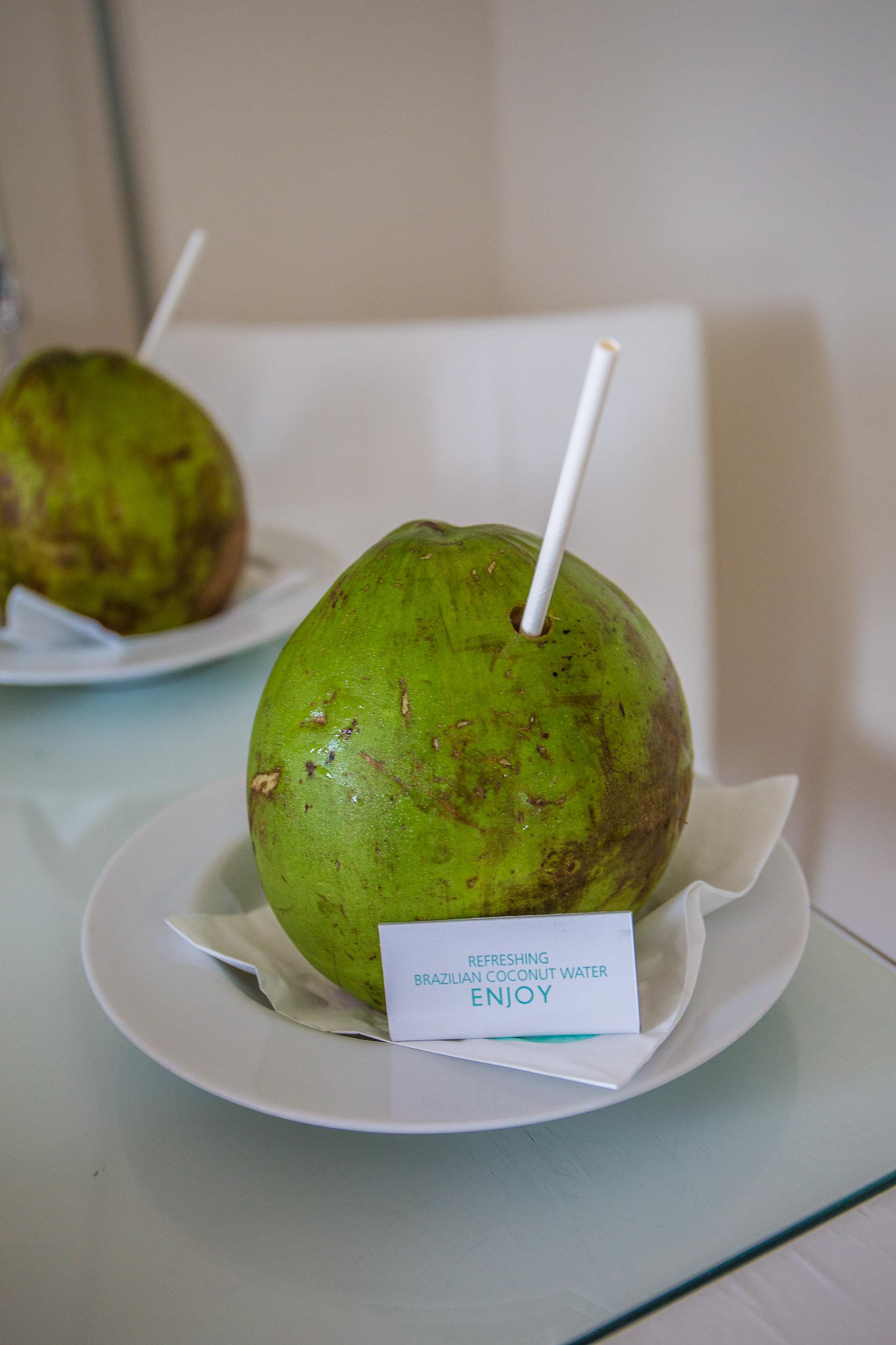 Welcome drink was a fresh Brazilian coconut, Hotel Unique, Sao Paulo, Brazil