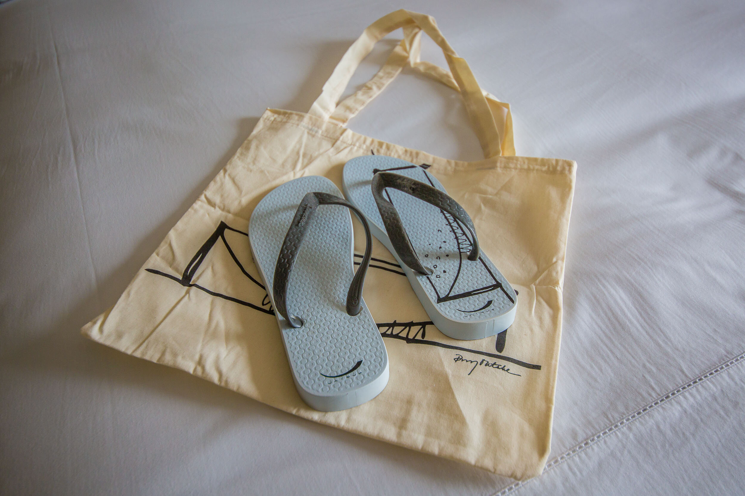 Thongs (flip flops) are provided for your use around the hotel, Hotel Unique, Sao Paulo, Brazil