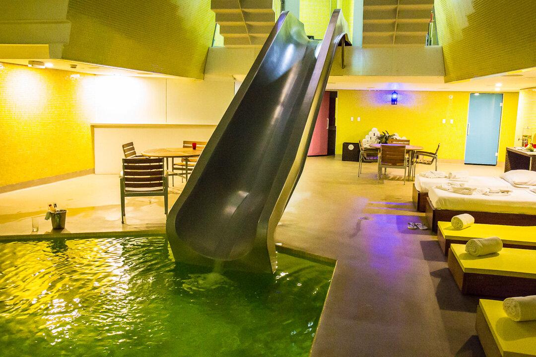 There is even a slide into the Main Pool, Unique Hotel, Sao Paulo, Brazil