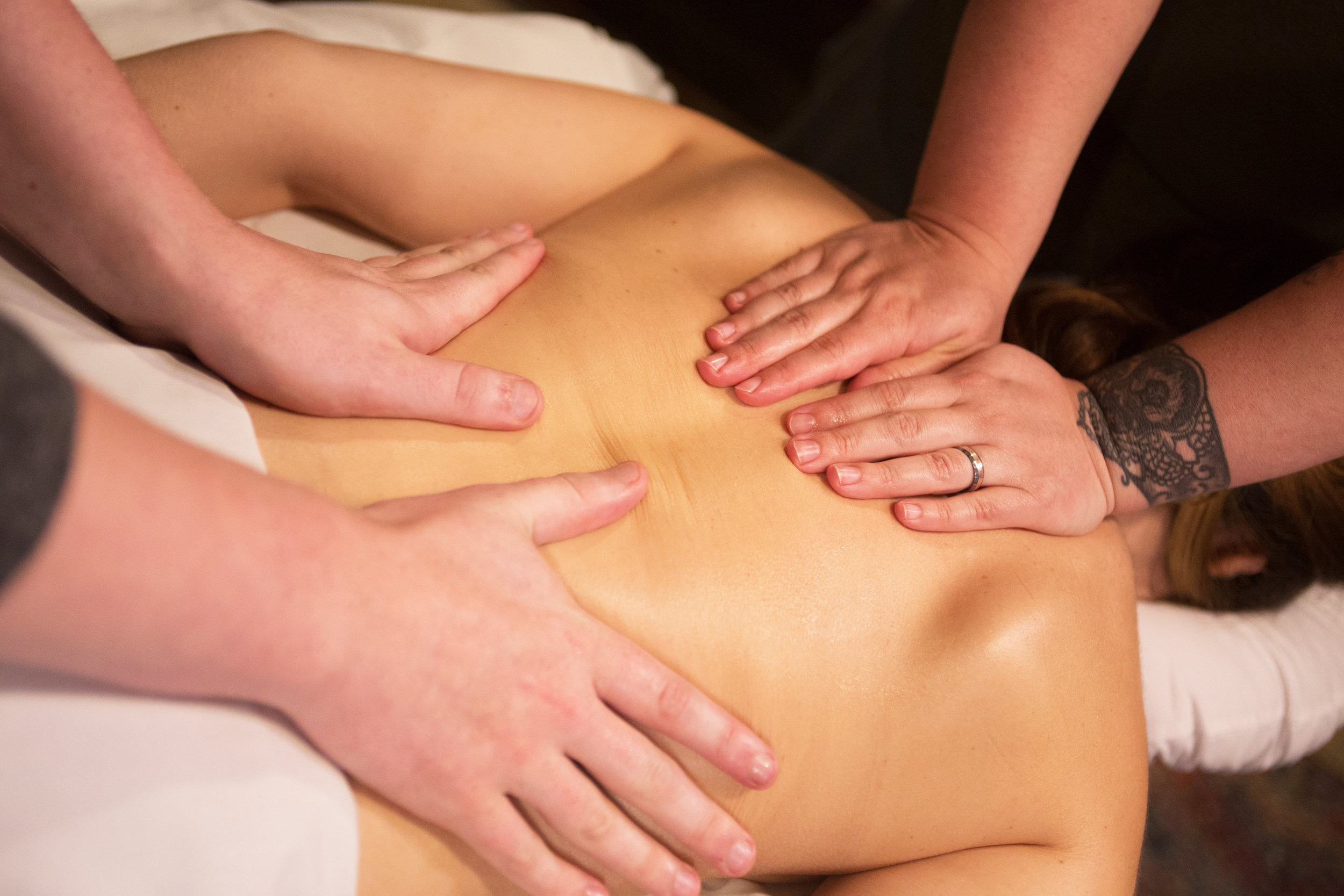FOUR HAND MASSAGE   The relaxation of a normal massage, amplified. Two massage therapists working in tandem on your muscles for an experience that has to be felt to be believed.  90-minute session: $160