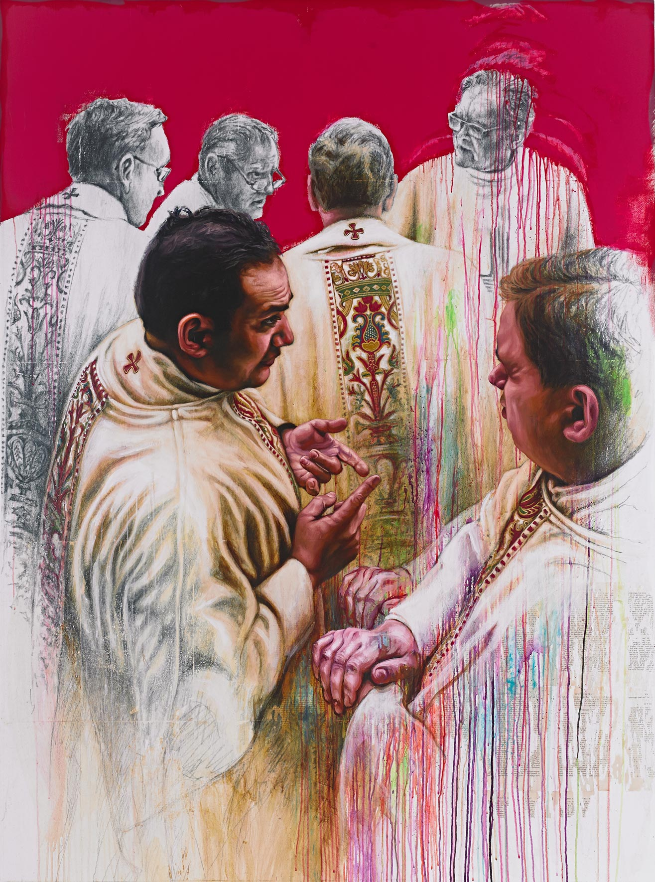 Priests On Parade   Mixed Media on Canvas 57in x 78in