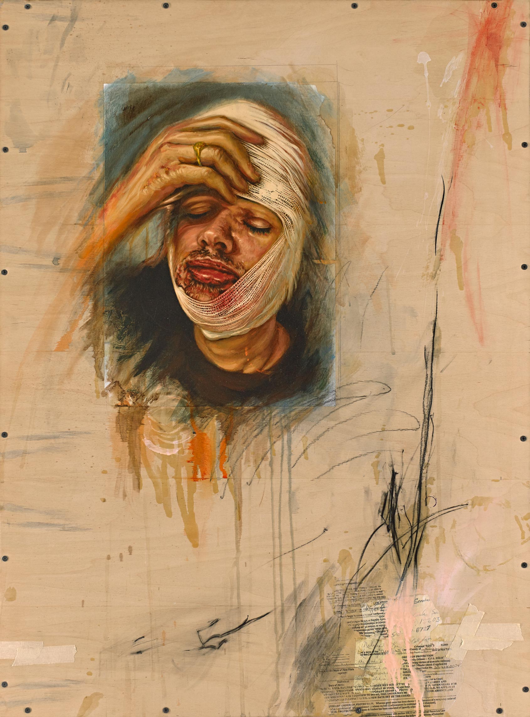 Broken Face Portrait   Mixed Media on Wood Panel 30in x 40in