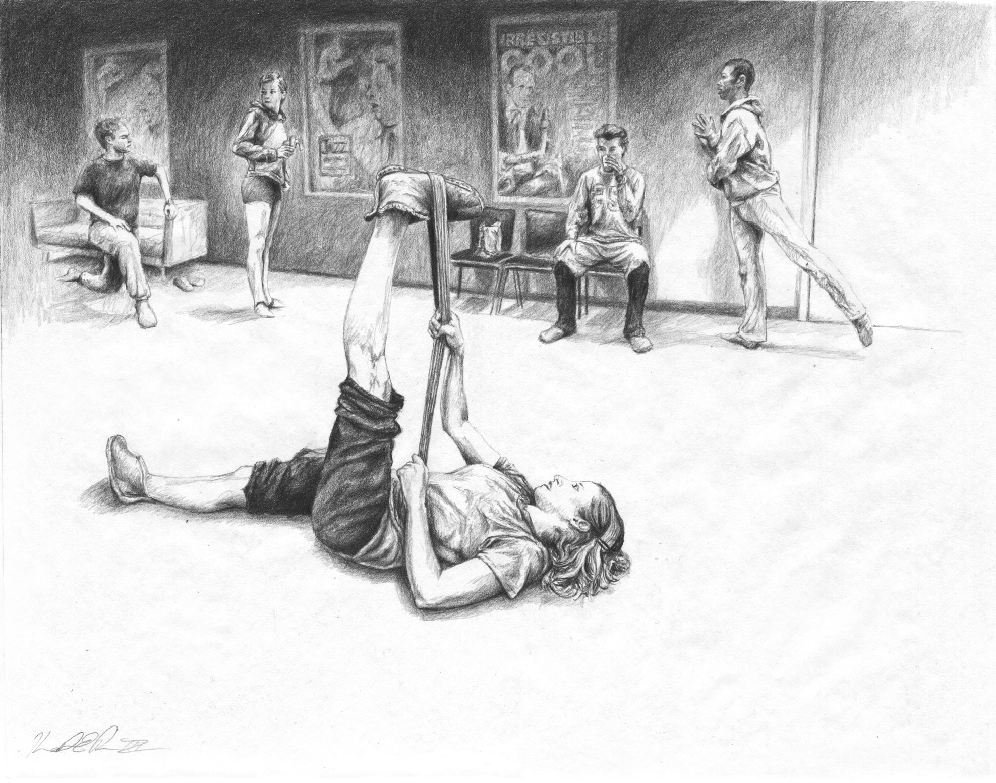 Green Room Preshow, Lincoln Center   Graphite on Paper 14in x 11in
