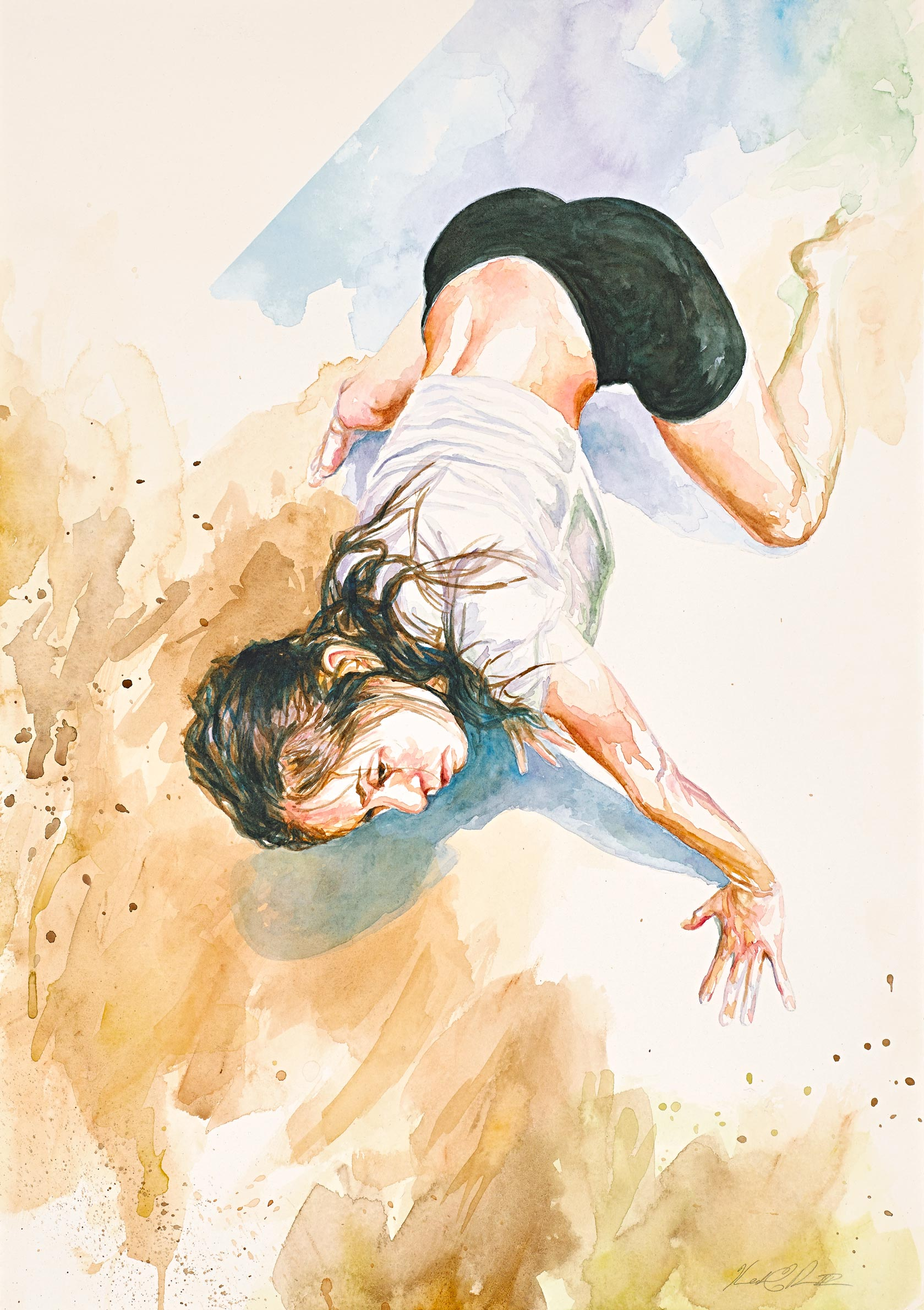 Crawl, Study   Watercolor on Paper 14in x 20in