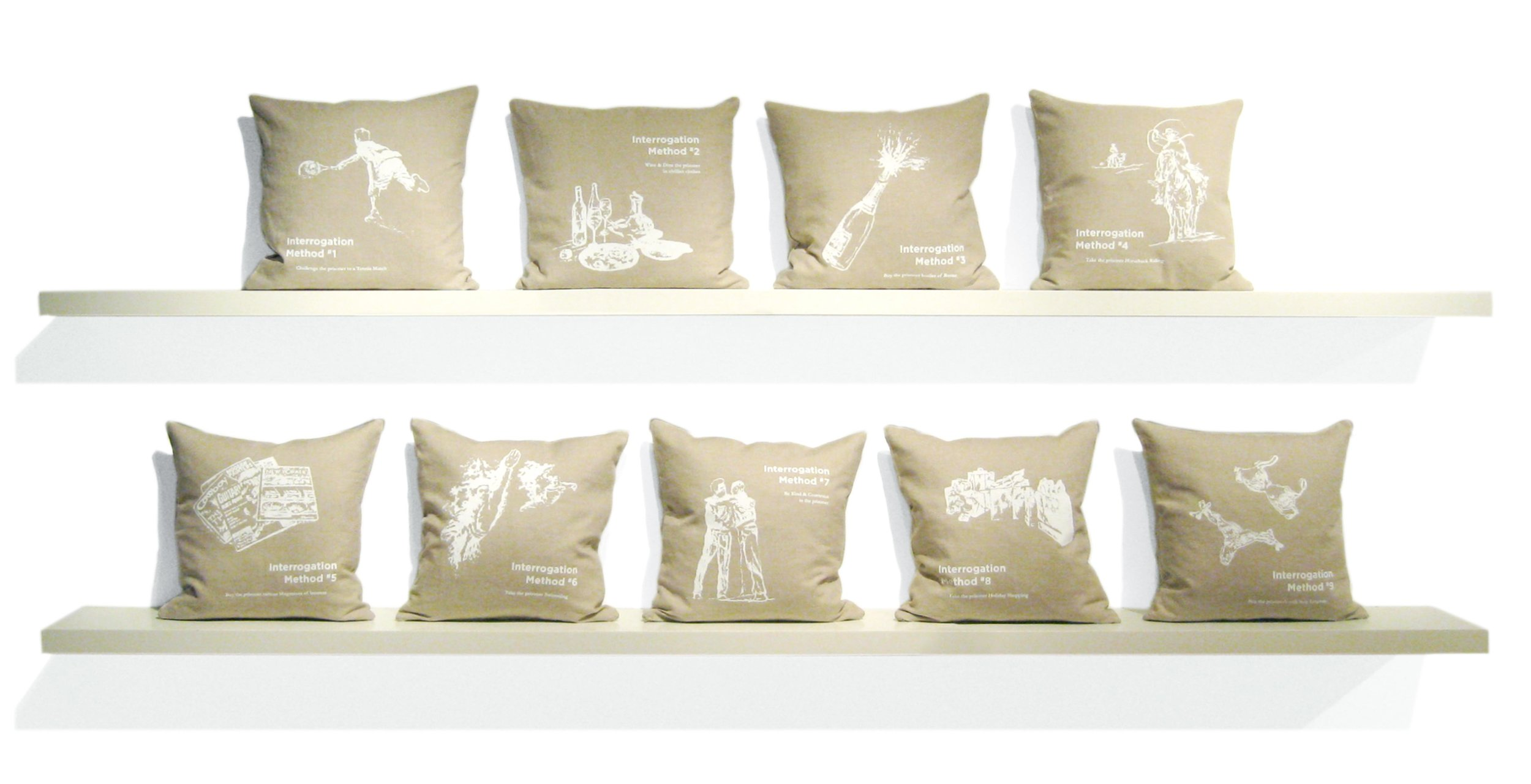 Interrogation Pillow Series   Limited Edition Silkscreen Throw Pillows 18in x 18in 5in deep