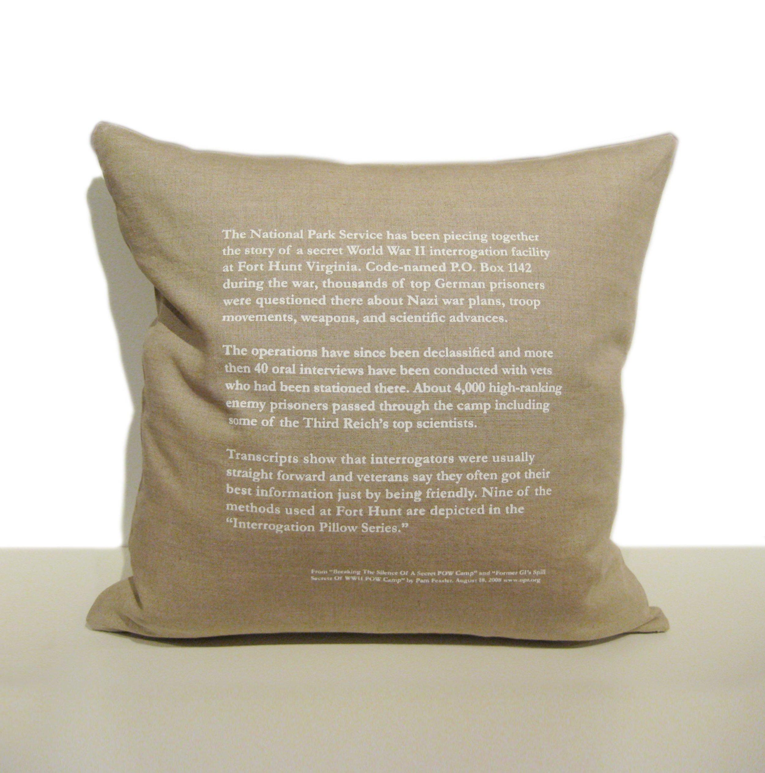 Interrogation Pillow Series  Back view of pillows