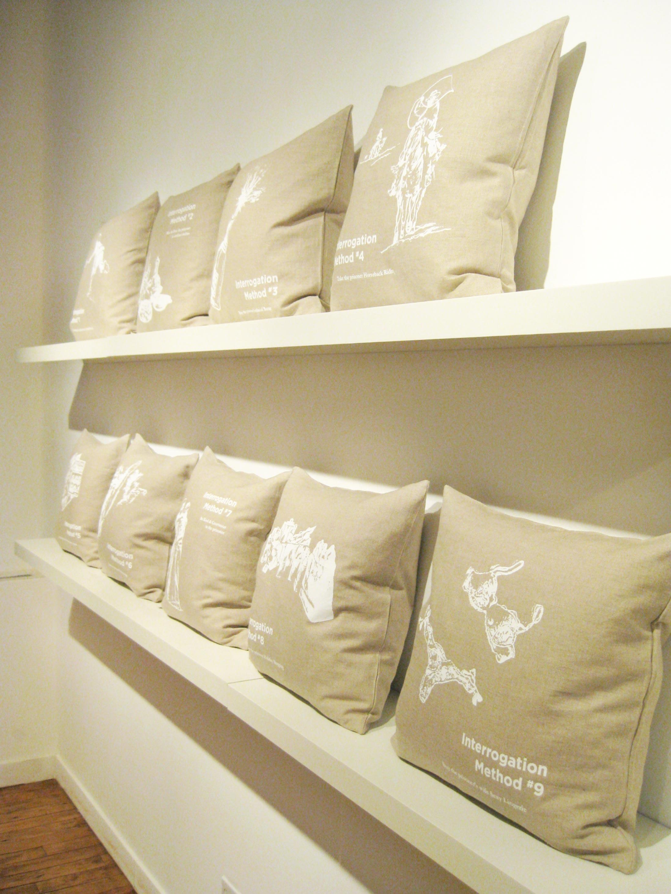 Interrogation Pillow Series   Limited Edition Silkscreen Throw Pillows 18in x 18in 5in deep