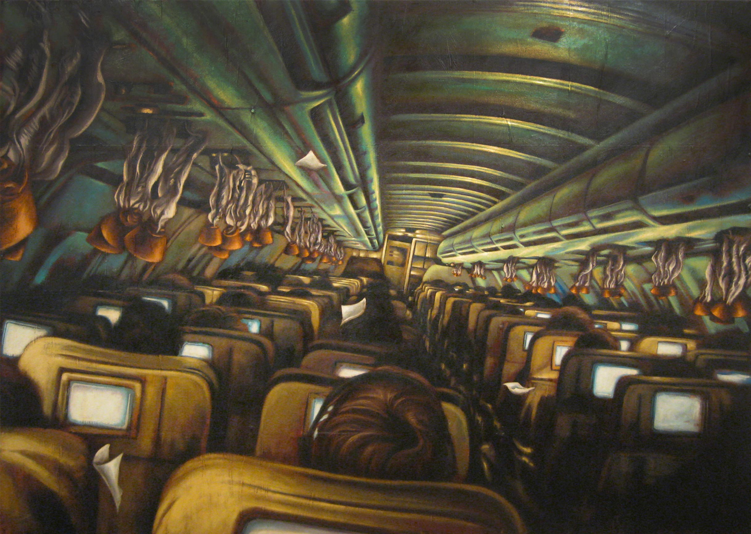 You're Not Any Safer In First Class   Mixed Media Painting 84in x 60in
