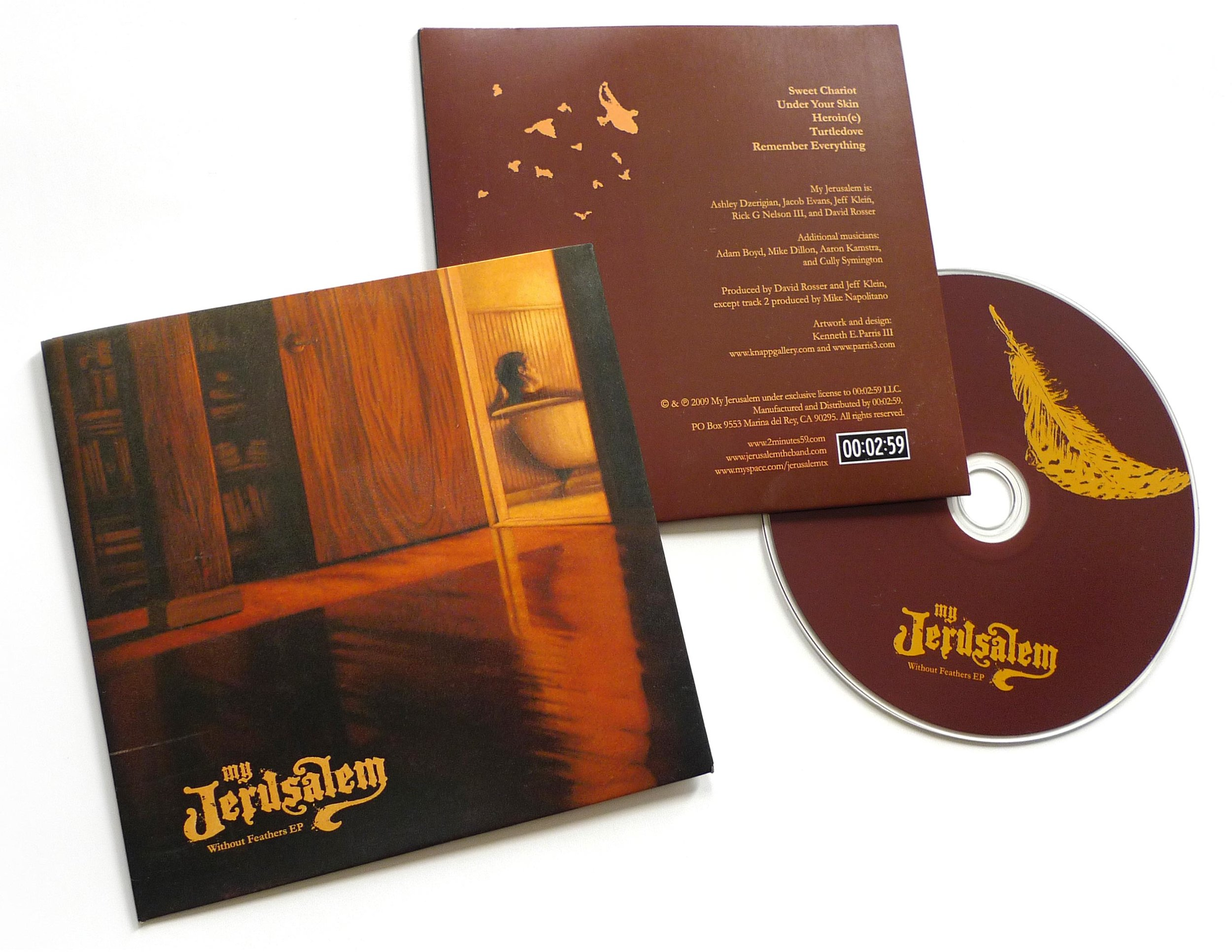"""CD packaging and logo design for EP """"Without Feathers"""",a preview before the full length """"Gone For Good"""" release"""