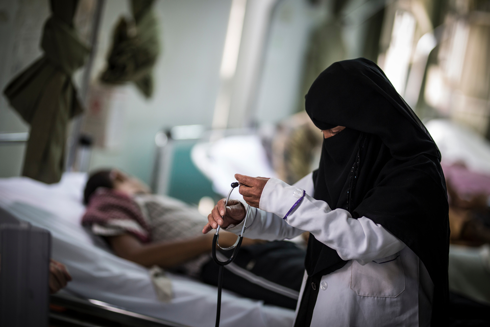 photo:  Florian Seriex  for MSF, Yemen. Kawkab Al Sarafi works as emergency room nurse at the Al Koweit university hospital. Like thousands of other medical staff and health workers, she has worked without pay during the crisis.
