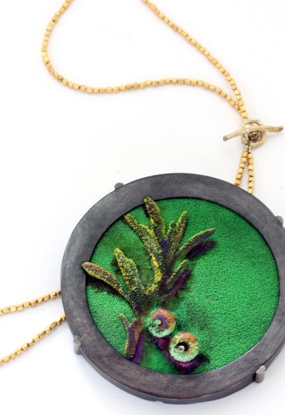 "Anna Sprague   Necklace: Backyard Portrait, Spring , 2015  vitreous enamel, copper, sterling silver, brass, mixed media  3"" x 3"" x 1/4"""