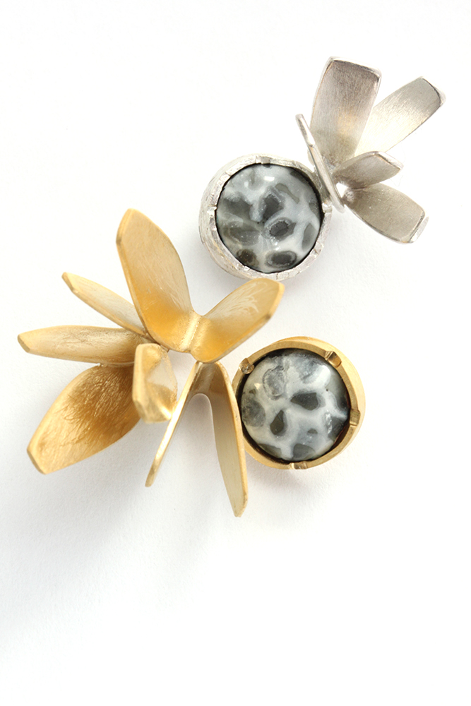Brooches: Tiny Posy - sterling silver, gold, vitreous enamel