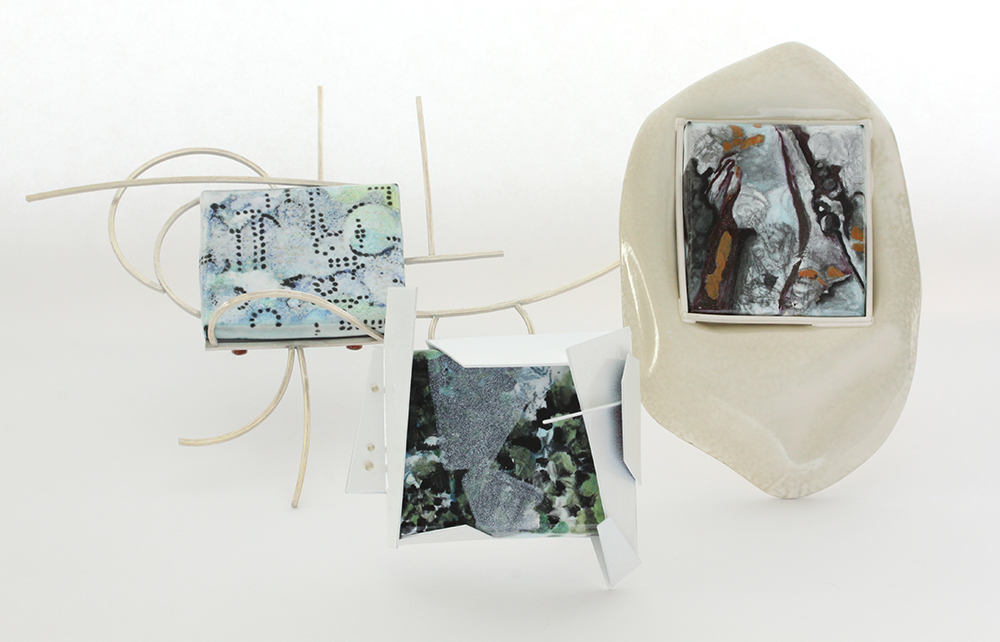 Brooches: Sense of Place I, II, and III  copper, vitreous enamel, sterling silver, powder coat, acrylic