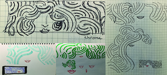 the farrah tee process sketches