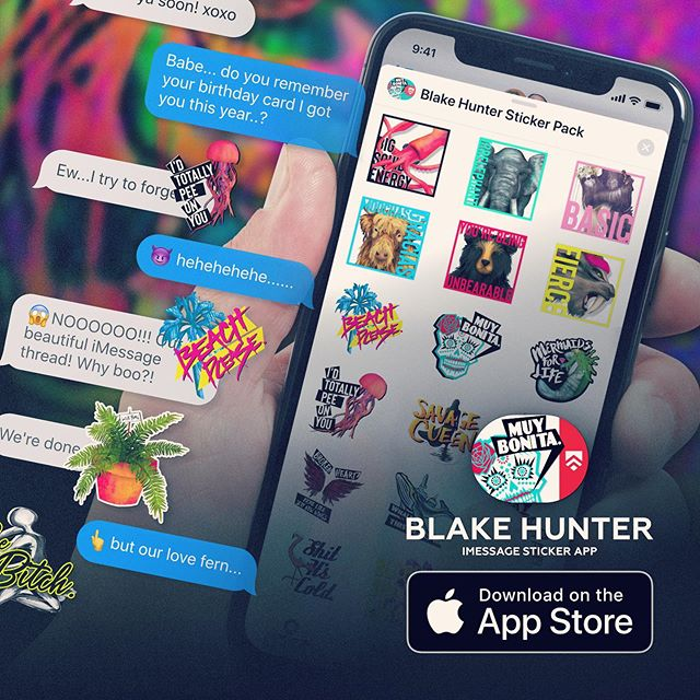 🥳🔥🔥🔥The Blake Hunter Sticker Pack for iMessage is now in the App Store! Woohoo! If you loved my artwork and greeting card line you'll love sliding into those DM's with these babies! My Mom taught me that humor can build bridges and boldness can strengthen them so this is inspired by that dream. Anyone that downloads it can show us at all future Arsenal events and receive automatic discounts and an exclusive special gift! 🎁 Thank y'all for all the love and support! #arsenalwares #blakehunter #lol #funny #imessages #humor #haha #mylife #memes #relatable #download #new #appstore #ios #supportthedream #lifestyle #entrepreneur #branding #puns #textpost #text #iphone #app #style #business #art #trend #promotion #photooftheday #entrepreneur