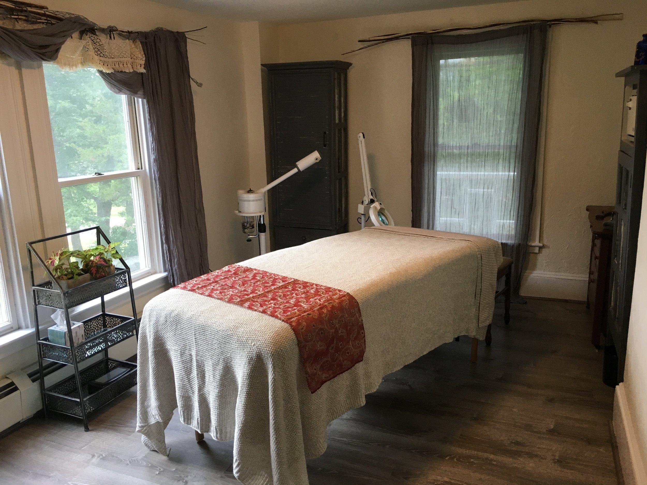 The esthetics room at KK Remedies Day Spa
