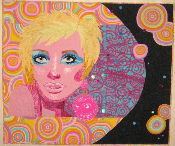 This is my 2010 quilt Bubbly Blonde which is my homage to Twiggy and 1960s hair, makeup and jewelry!!