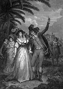 Petruchio forces Katherina to call the sun the moon in Act IV, scene 5.   Julius Caesar Ibbetson; engraver Isaac Taylor.
