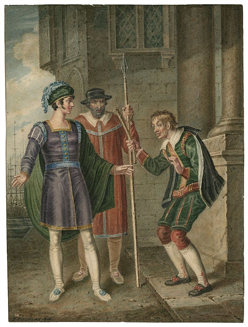Act IV, Scene i: Antipholus of Ephesus, an officer, and Dromio of Ephesus; an English watercolor from 1816