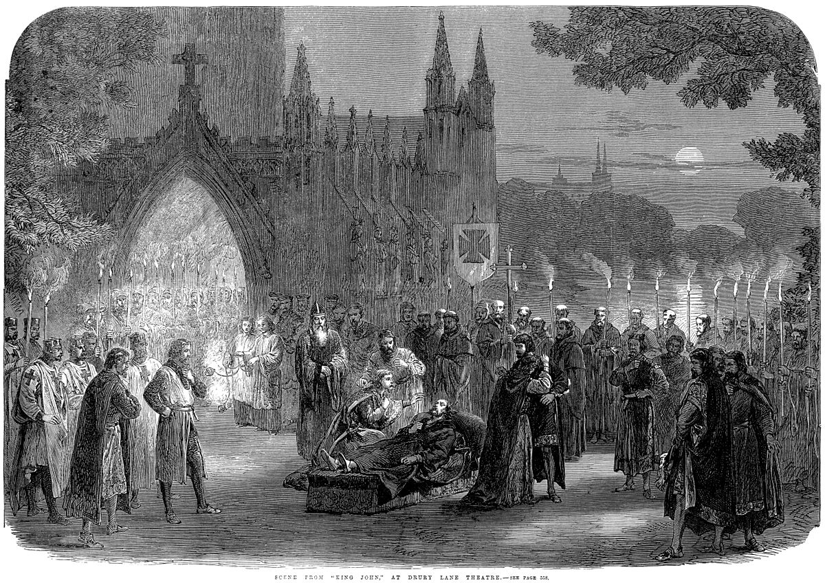 "Scene from ""KING JOHN"" at Drury-Lane Theatre , as published in  The Illustrated London News  on December 9, 1865."