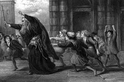 Shylock After the Trial  , a steel engraving by Sir John Gilbert circa 1873