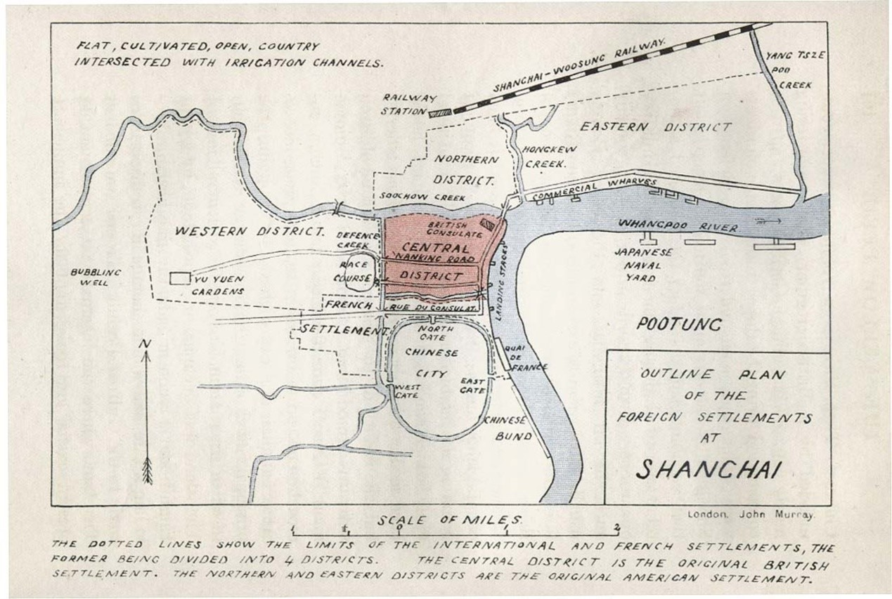 Outline Plan of Foreign Settlements in Shanghai(1907)   The French Concession and Shanghai International Settlement occupied 80% of the urban area of Shanghai.