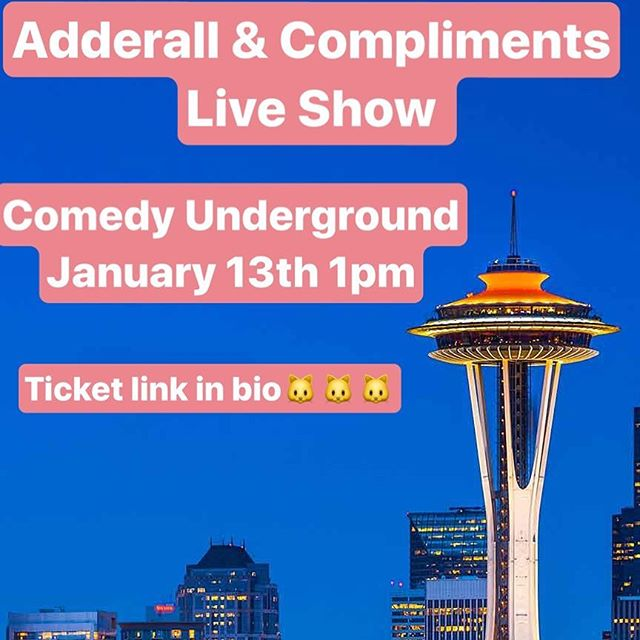 🐱☔️Seattle Kittens! Who is coming to the live show next Saturday?! Me, @meagangrainger @nancydesisto & RJ are so excited to meet all of you after the show! We will have new merch,give aways & the Matt Damon cut out! Link for tickets is in bio☔️🐱🔮#seattle #adderallandcompliments #seattleshow