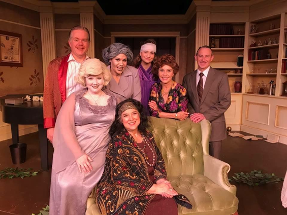 The cast of Blithe Spirit at Tacoma Little Theatre 2017