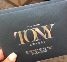 Sabrina Wallace's Tony ticket. Photo Credit: Sabrina Wallace